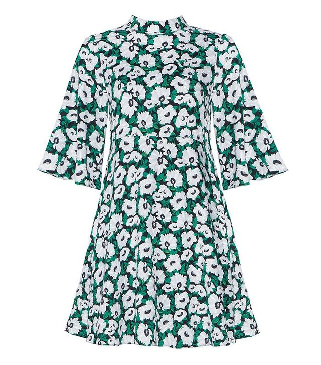 Pixie Market Green Floral Bell Sleeve Dress