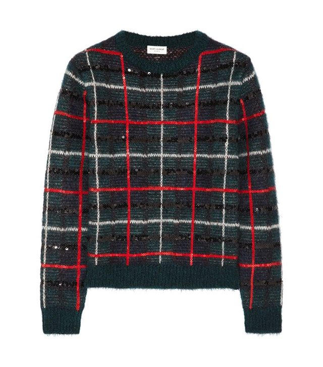 Saint Laurent Sequin Tartan Sweater