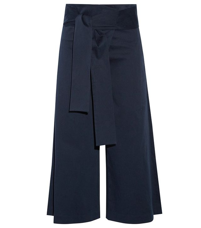 Tibi Barrett Cropped Cotton Blend Twill Wide-Leg Pants
