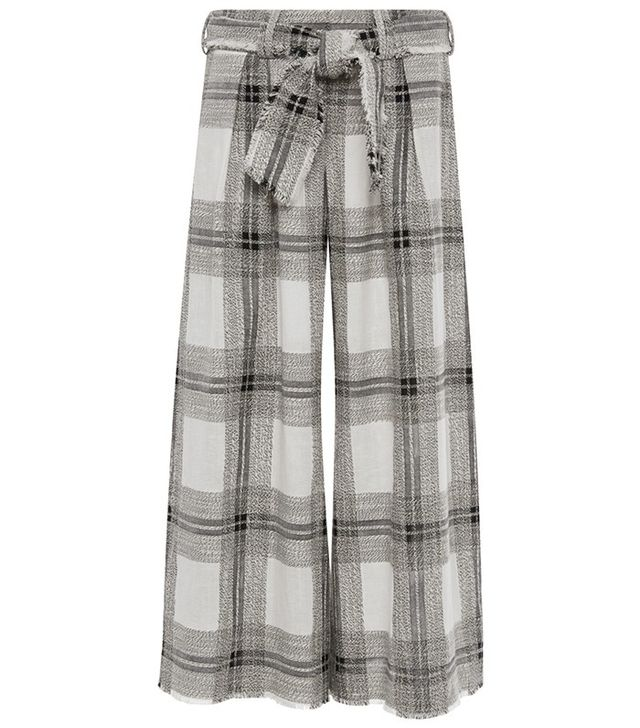 Zimmermann Empire Raw Cotton and Linen Plaid Lounge Pants