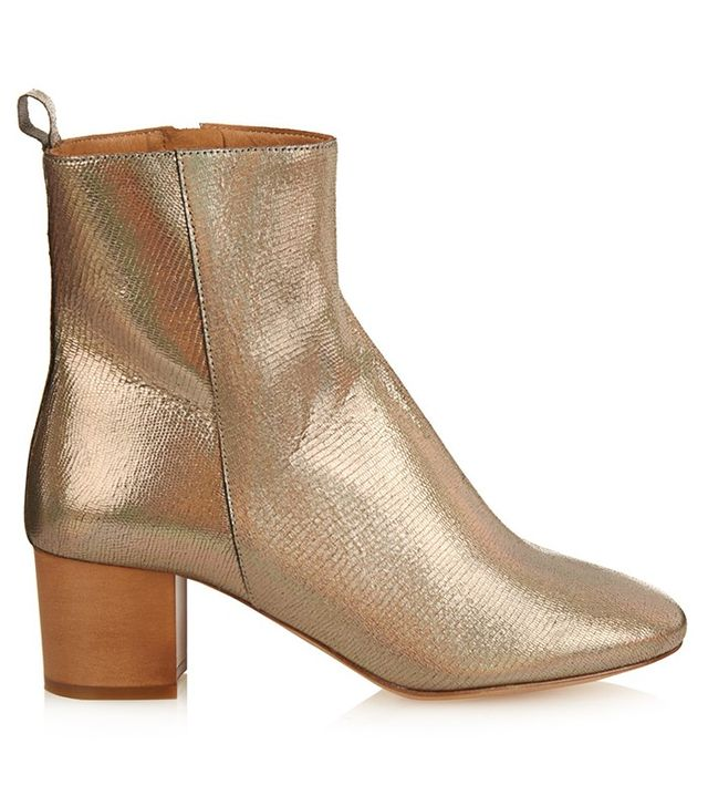 Étoile Isabel Marant Drew Leather Metallic Leather Ankle Boots