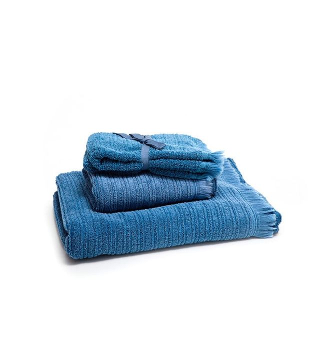Zara Home Washed Blue Jacquard Bath Towel