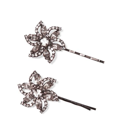 Gunmetal-Plated Swarovski Crystal Hair Slides
