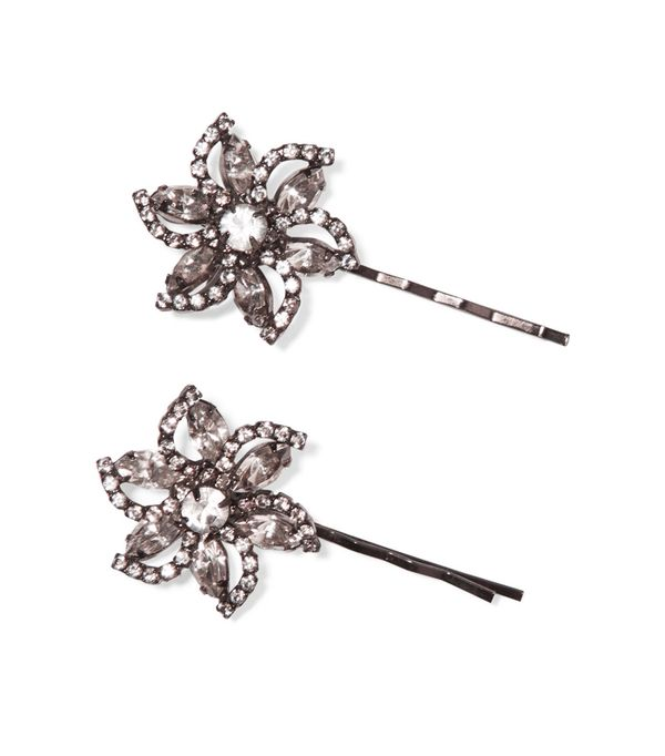 Half up hairstyles: Jennifer Behr Gunmetal-Plated Swarovski Crystal Hair Slides
