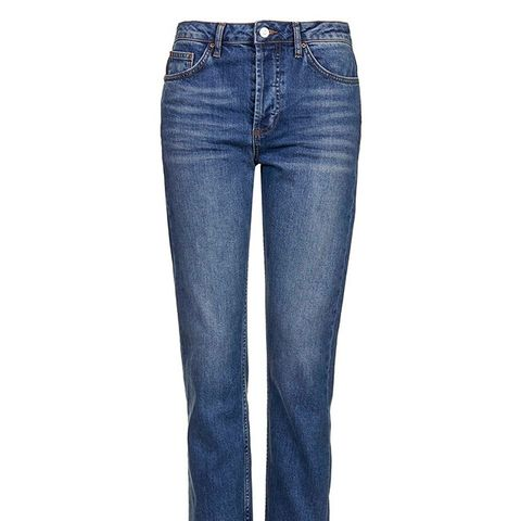 Moto Dark Blue Straight Leg Jeans