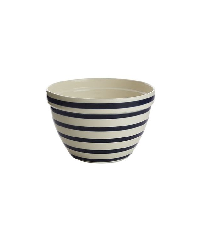 Crate and Barrel Navy and White Striped Mixing Bowl