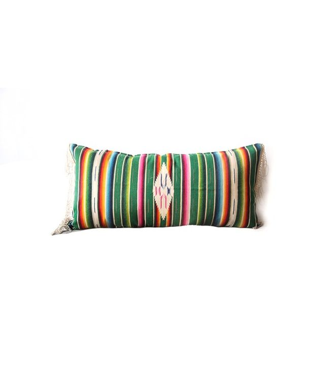 Gallivanting Girls Vintage Mexican Saltillo Weaving Upholstered Bolster Pillow