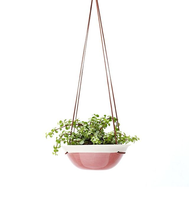 Red Raven Studios Studios Raspberry Pink Medium Planter in Porcelain and Suede