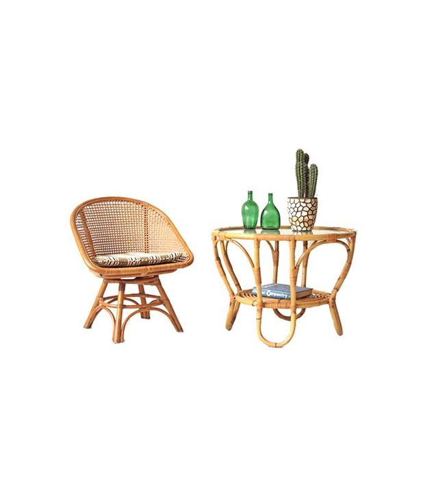 Other Times Vintage Bamboo + Glass Rattan Table