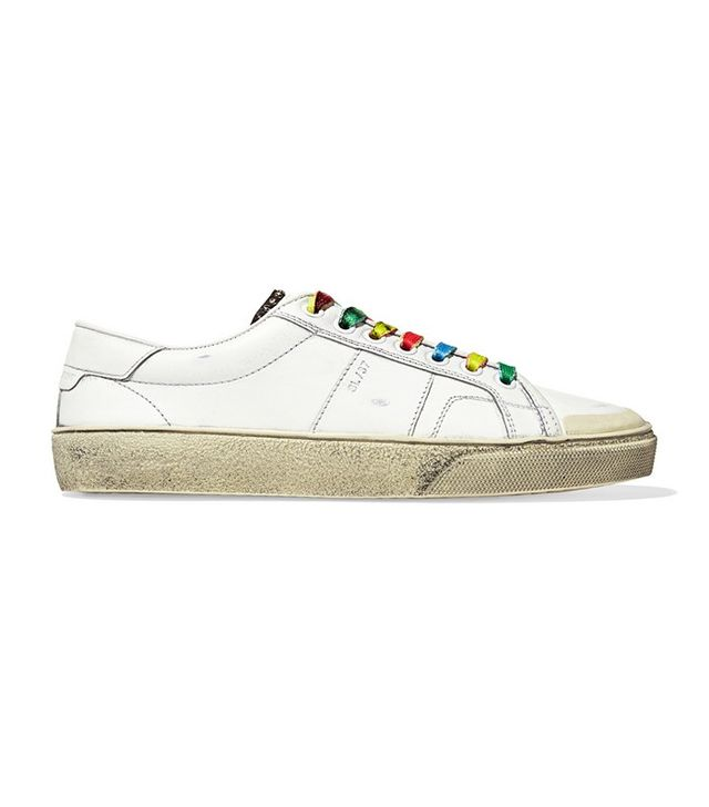 Saint Laurent Court Classic Surf Distressed Leather Sneakers