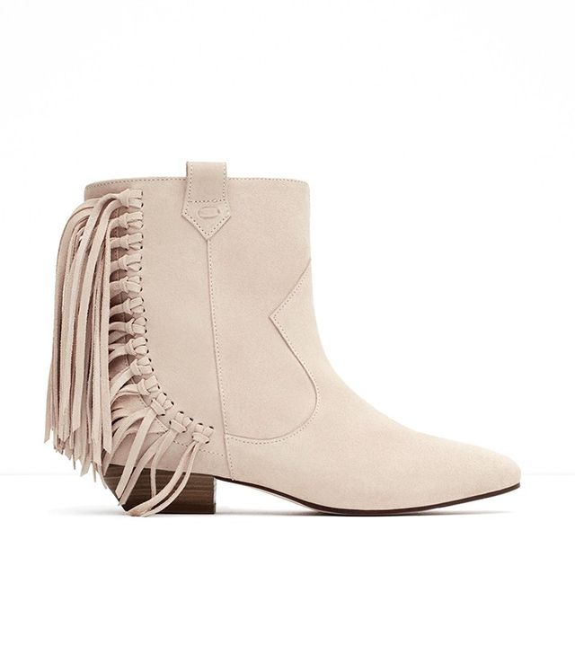 Zara Flat Leather Ankle Boots With Fringe