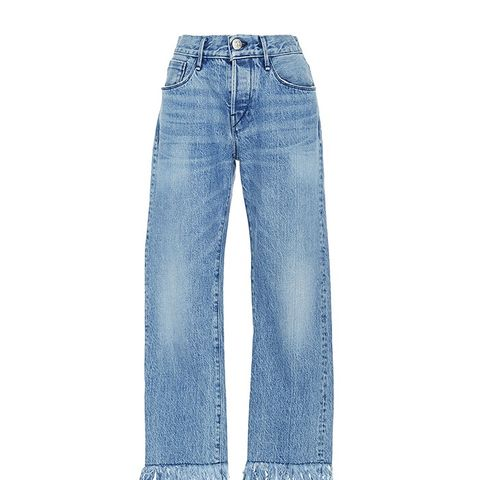 Straight Cropped Fringed Jeans