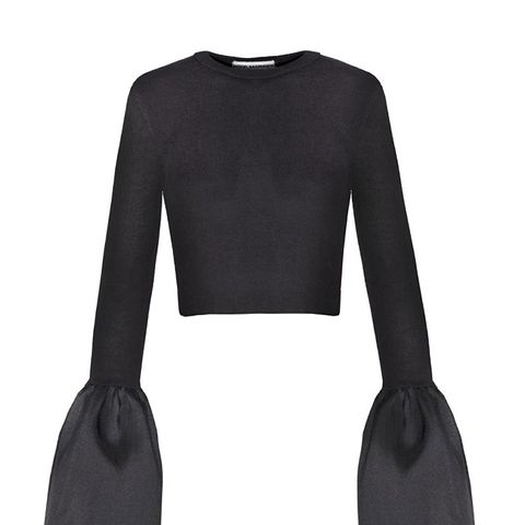 Black Bell Sleeve Crop Top