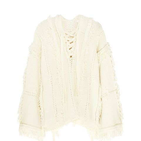 Oversized Fringed Knitted Sweater