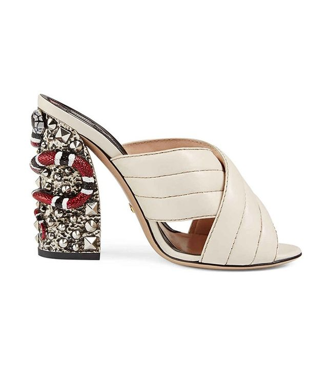 Gucci Webby Quilted Leather Snake-Heel Muled Sandal