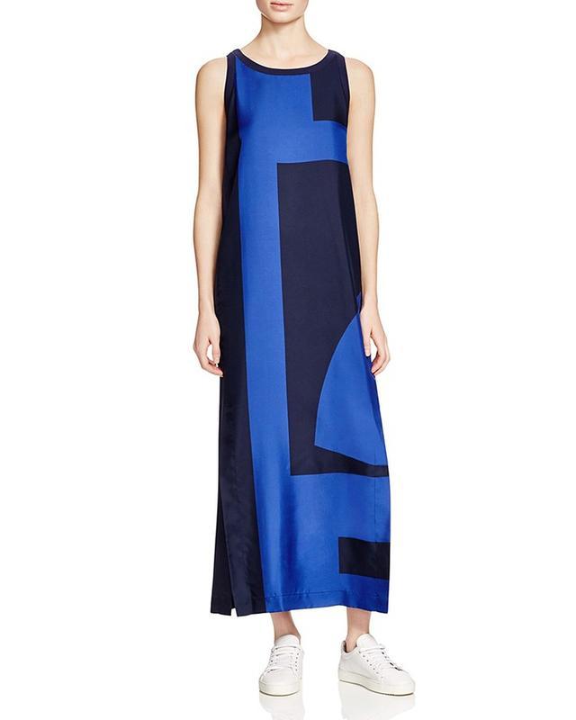 DKNY Color Block Silk Maxi Dress