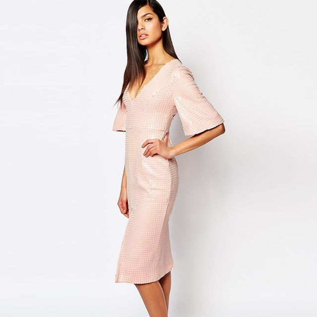 The 8th Sign Luxe Plunge Neck Dress