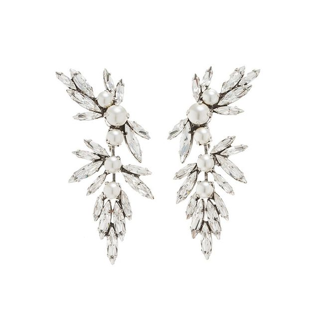 Ryan Storer Silver Crystal and Pearl Earrings