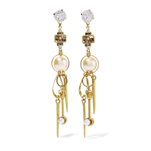Erickson Beamon Gold-Plated Swarovski Crystal Earrings