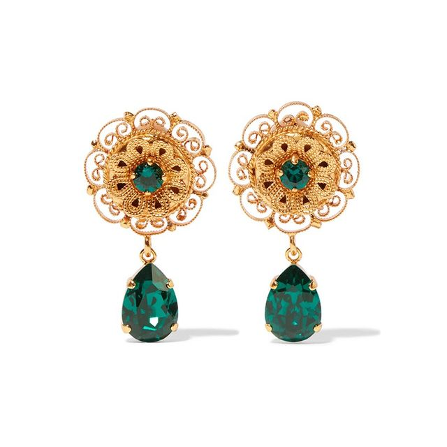 Dolce & Gabbana Gold-Plated Swarovski Earrings