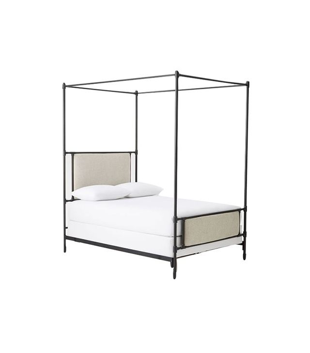 west elm rhodes upholstered metal canopy bed