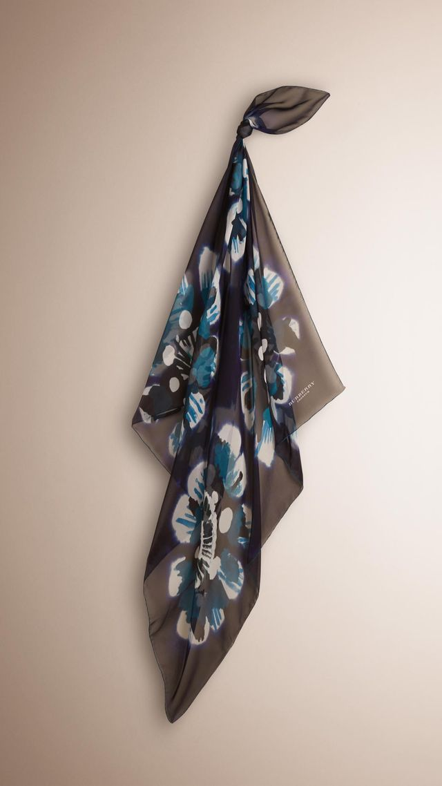 Burberry Floral Tie-Dye Silk Square Scarf