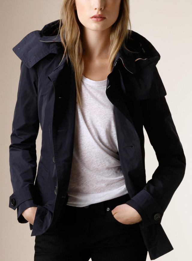 Burberry Hooded Short Showerproof Trench Coat