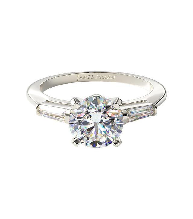 James Allen 14K White Gold Tapered Baguette Engagement Ring