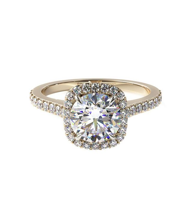 James Allen Yellow Gold Cushion Outline Pave Engagement Ring