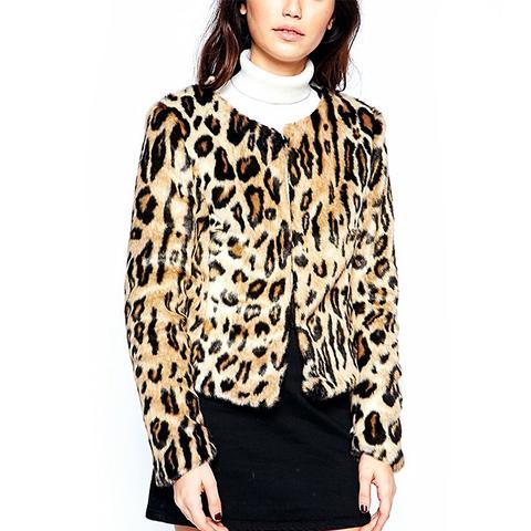 Cow Print Chubby Fur Coat