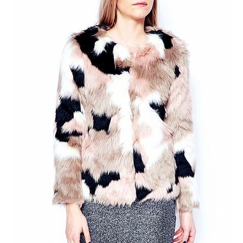 Patchwork Faux Fur Coat
