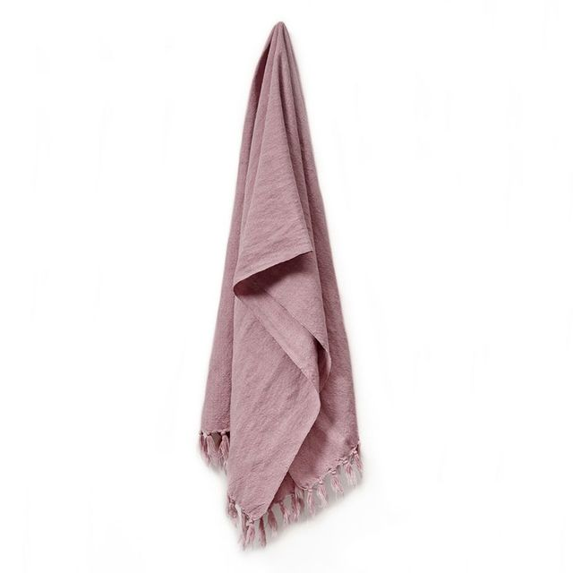 Home Republic Vintage Washed Linen Cotton Throw Soft Pink