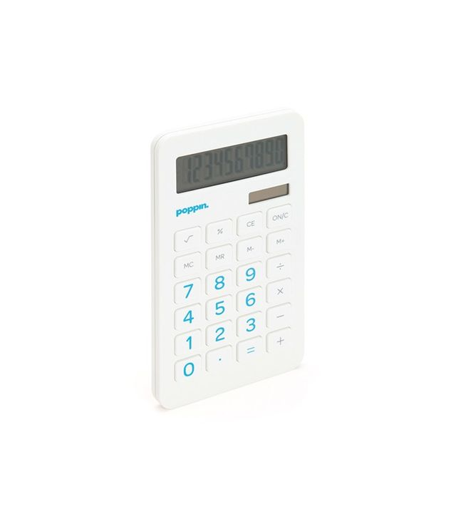 Poppin White Eco-Calculator With Pool Blue Numbers