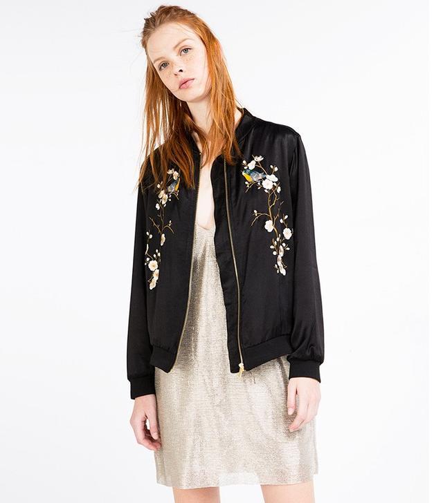 Zara Floral Embroidered Bomber Jacket
