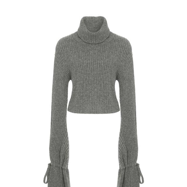 Emilie Turtleneck Knot-Tie-Sleeve Sweater