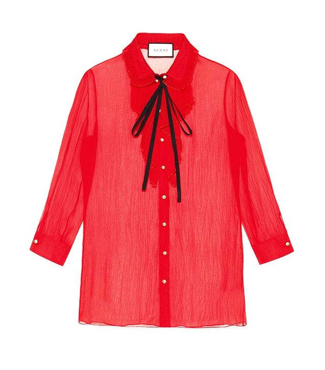 Gucci Chiffon Crepe Pleated Shirt