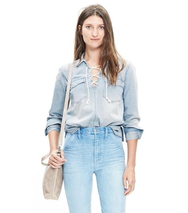 Madewell Denim Lace-Up Shirt