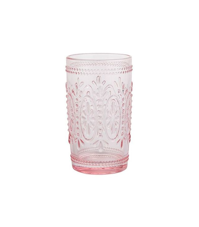 Pier 1 Clara Pressed Glass Tumbler in Pink