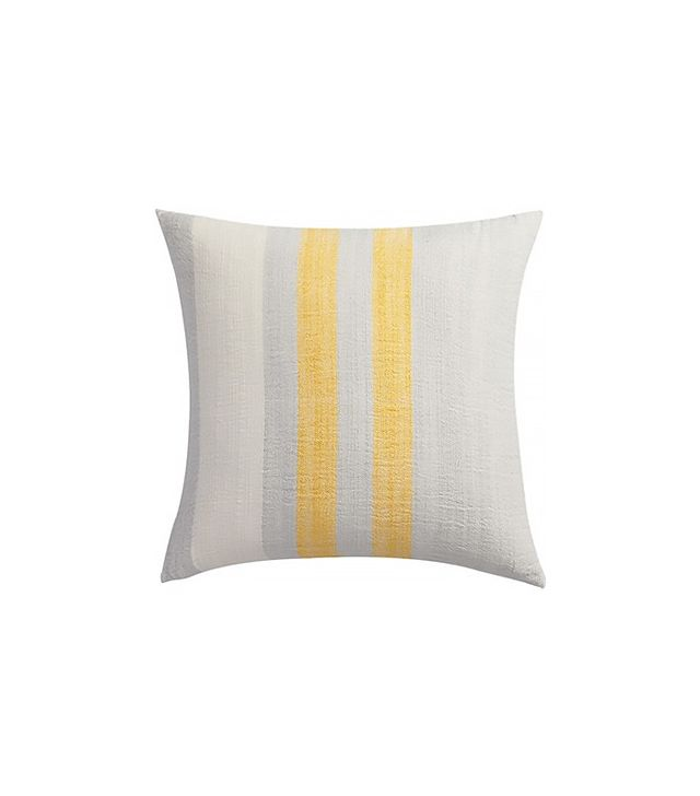 CB2 Yellow Cotton-Bamboo Stripes Pillow
