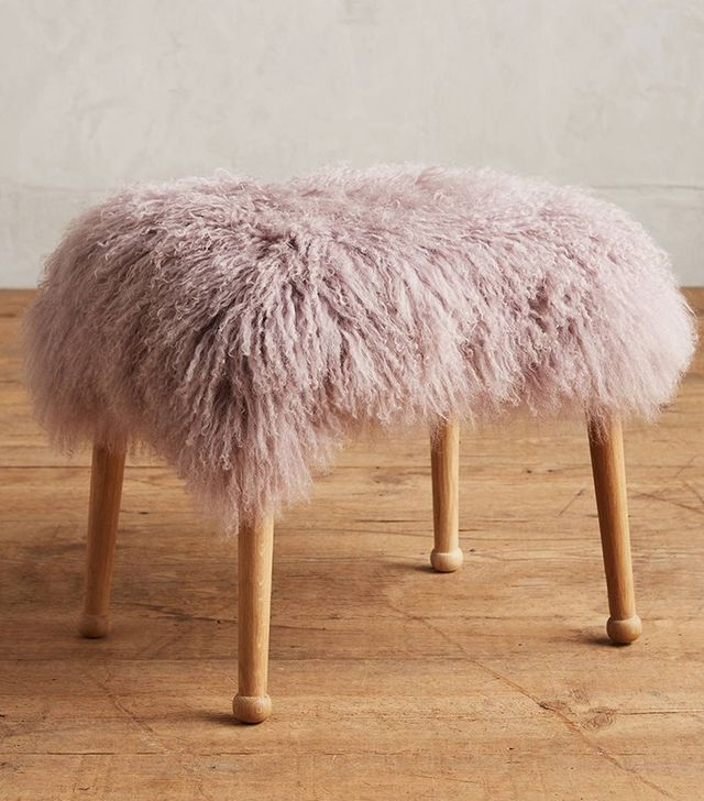 Anthropologie Luxe Fur Stool