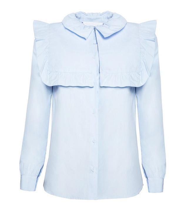 Pixie Market Baby Blue Ruffle Bib Shirt