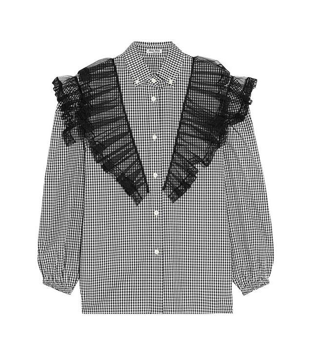 Miu Miu Ruffled Lace and Tulle-Paneled Cotton-Poplin Shirt