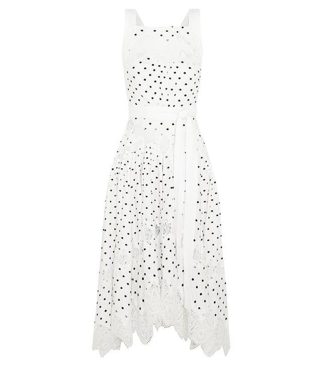 Zimmermann Empire Dot Apron Embroidered Linen Dress