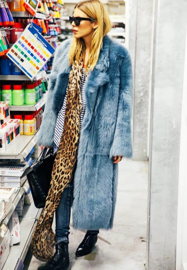 Pair pale blue with leopard print.