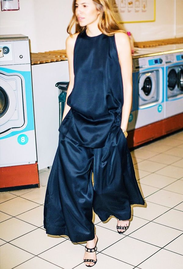 Try double the dose of black satin for a dramatic entrance