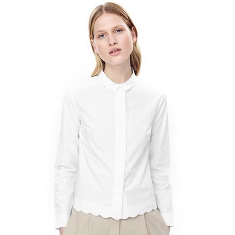 Shirt with Scalloped Hem