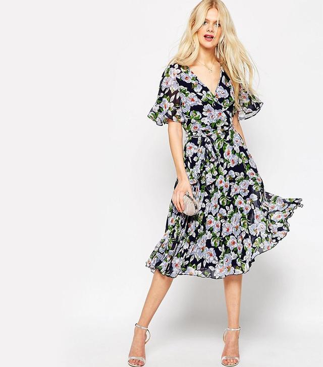Asos Pleated Midi-Dress