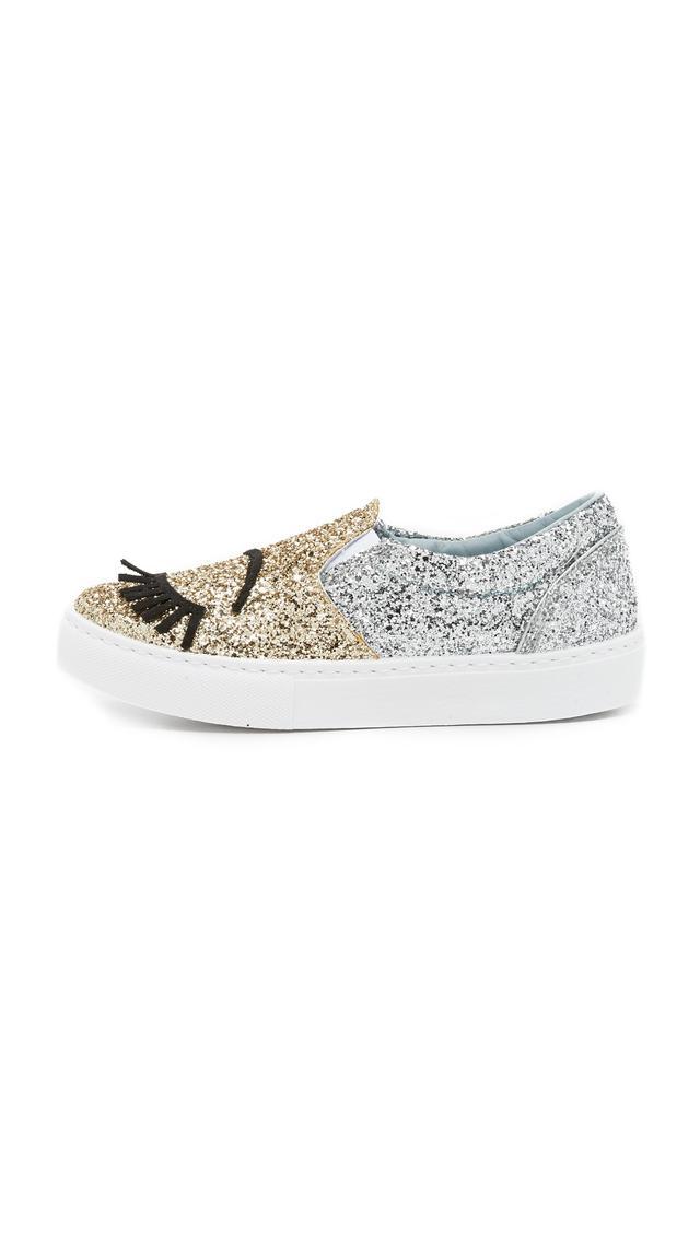 Chiara Ferragni Glitter Eyes Slip On Sneakers