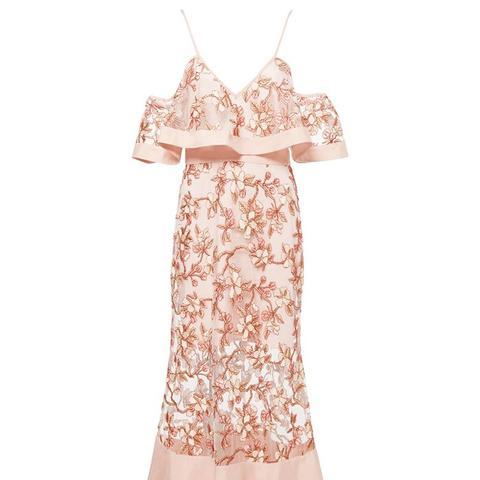 Crystalized Off-the-Shoulder Dress