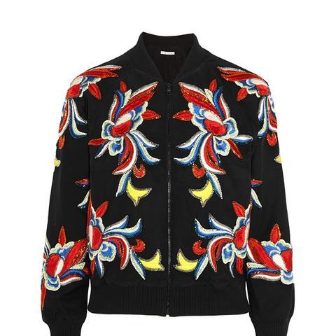 Felisa Embellished Embroidered Silk Bomber Jacket